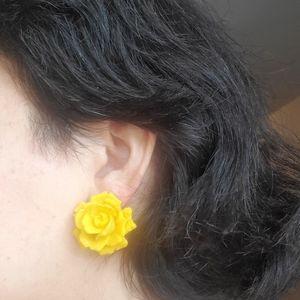 Large Yellow Rose Earrings